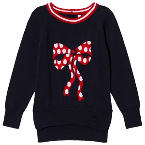 Image of Dr Kid Navy Knitted Bow Print Sweater 12 years (3020090763)