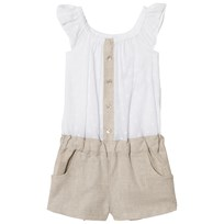 Dr Kid White and Beige Shirt Playsuit 000