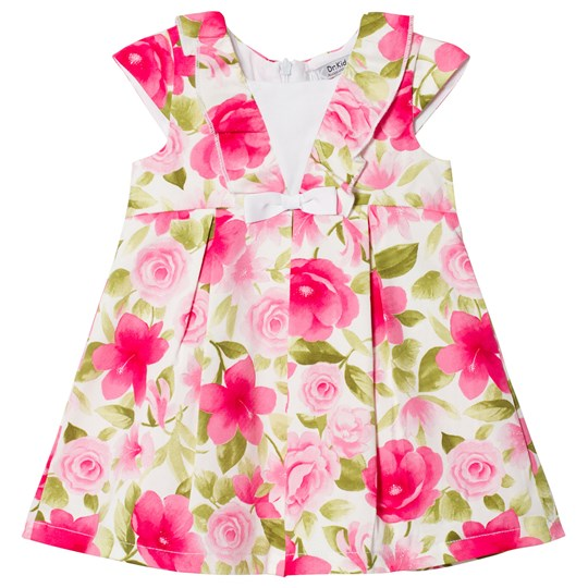 Dr Kid Frill and Bow Detail Floral Infants Klänning Rosa 760