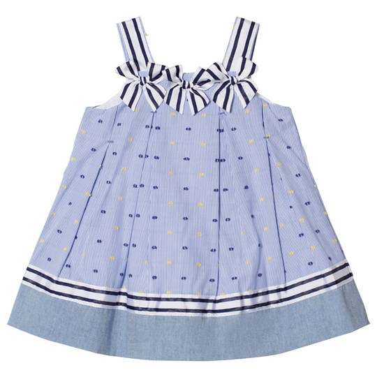 Dr Kid Stripe Embroidered Dotty Infants Klänning Blå 108