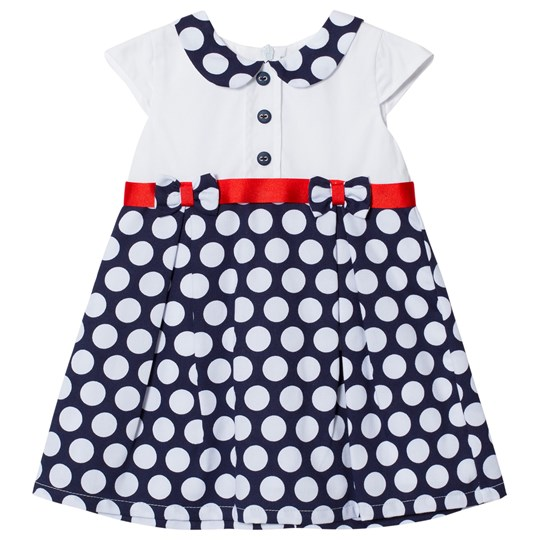 Dr Kid Navy and White Bow Detail Spotty Infants Dress 280