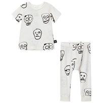 NUNUNU Skull Mask Tee and Pants White White