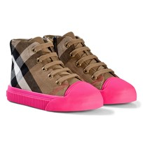 Burberry House Check and Leather High-Top Sneakers CLASSIC/NEON PINK