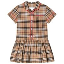 Burberry Piping Detail Check Shirt Dress Camel Camel