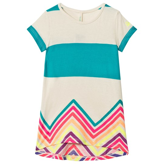 United Colors of Benetton Bold Stripe Jersey Dress With Zigzag Colour Stripe Finish S/s Beige Beige