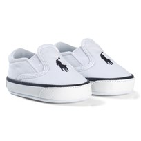 Ralph Lauren Canvas Crib Shoes Navy and White WHITE W/NAVY