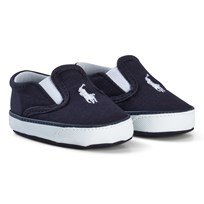 Ralph Lauren Canvas Crib Shoes Navy and White NAVY W/WHITE