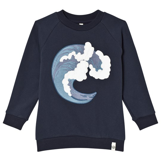 Popupshop Basic Wave Sweater Navy Wave EMB On Navy