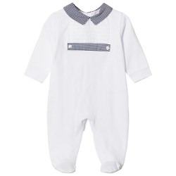 Dr Kid Stripe Collar Footed Baby Body White