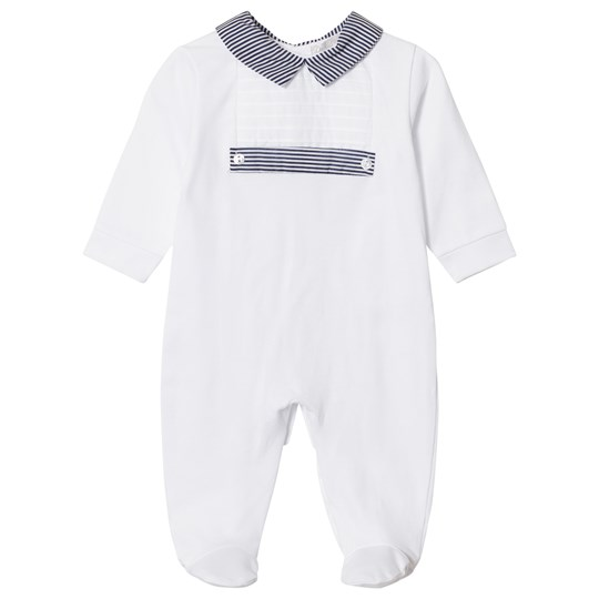 Dr Kid Stripe Collar Footed Baby Body White 000