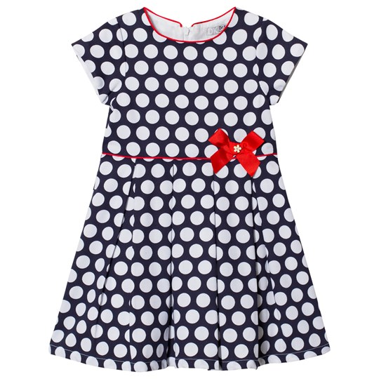 Dr Kid Bow Detail Spotty Dress Navy and White 280