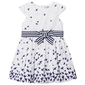 Image of Dr Kid Bird Print Dress with Bow Detail White 12 years (2996521419)