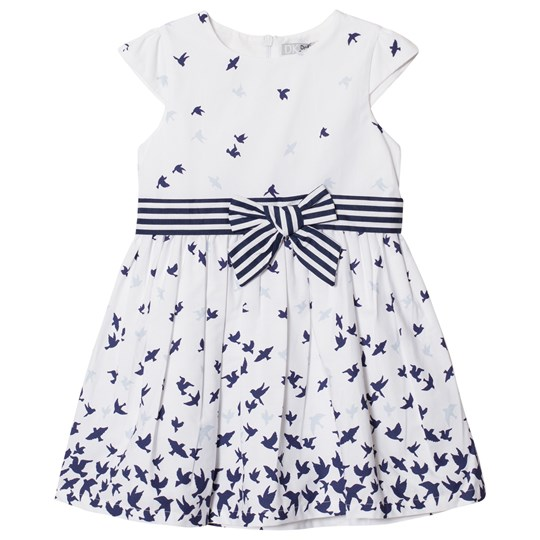 Dr Kid Bird Print Dress with Bow Detail White 000