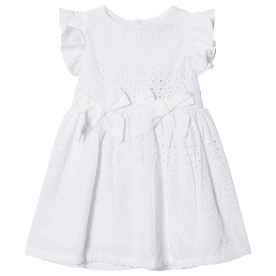 Dr Kid Embroidery Anglais Infants Dress with Bow Detail White 000