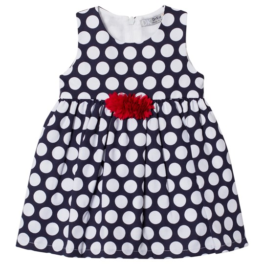 Dr Kid Spotty Infants Dress with Red Frill Applique Navy 280