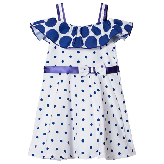 Dr Kid Spot Bardot Dress Blue and White 110