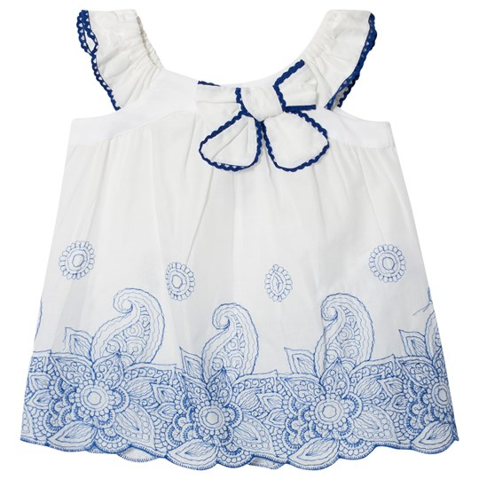 Dr Kid Embroidered Detail Top White with Blue 000