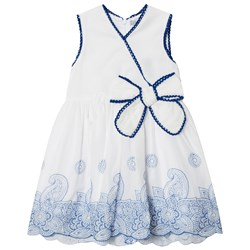 Dr Kid Embroidered Detail Dress White with Blue