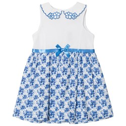 Dr Kid Floral Dress with Embroidered Collar Blue and White