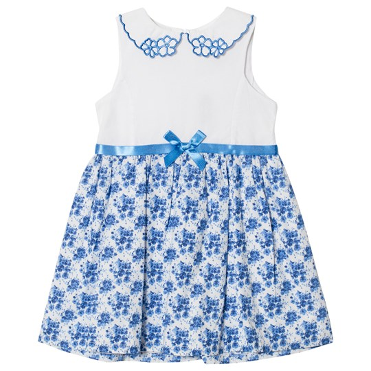 Dr Kid Floral Dress with Embroidered Collar Blue and White 108