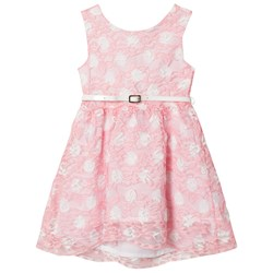Dr Kid Spotted Lace Dress with Belt Pink and White