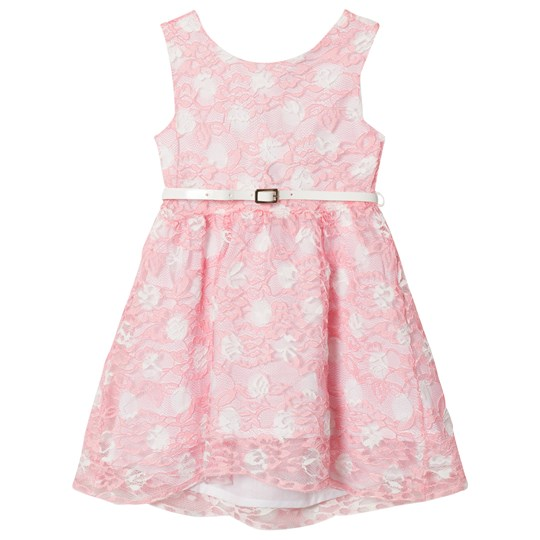 Dr Kid Spotted Lace Dress with Belt Pink and White 240