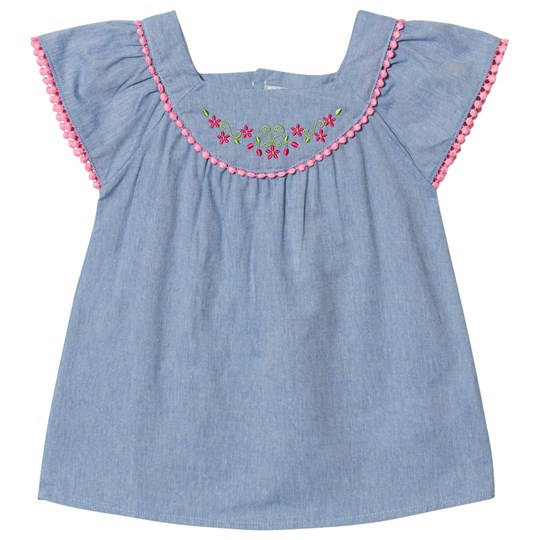 Dr Kid Chambray Embroidered Blouse Blue and Pink 105
