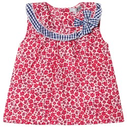 Dr Kid Floral Infants Dress with Gingham Collar Detail Red