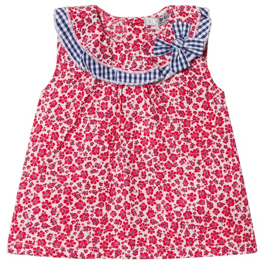 Dr Kid Floral Infants Dress with Gingham Collar Detail Red 160
