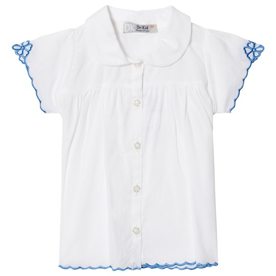Dr Kid Infants Shirt with Blue Embroidered Detail White 108