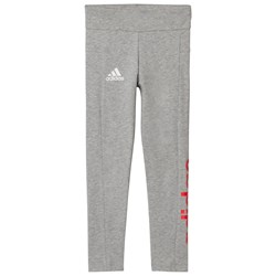adidas Performance Gray and Coral Branded Leggings