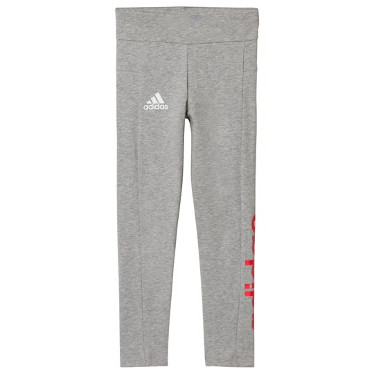 adidas Performance Gray and Coral Branded Leggings MEDIUM GREY HEATHER/REAL CORAL S18