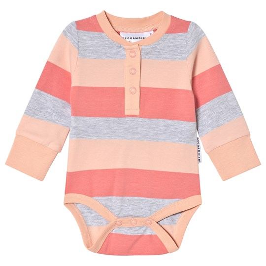 Geggamoja Striped Peach and Gray Baby Body Peach