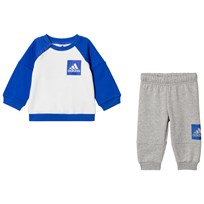 adidas Performance Blue and Gray Infants Sweater and Joggers Set Top:WHITE/HI-RES BLUE S18 Bottom:MEDIUM GREY HEATH