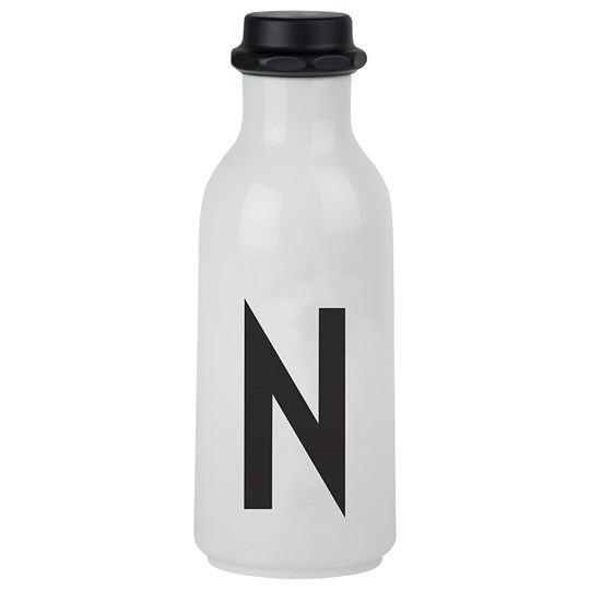 Design Letters Personal Water Bottle N White with black letterprint