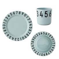 Design Letters Melamine The Numbers Tableware Gift Set 3 Pieces Grey Green