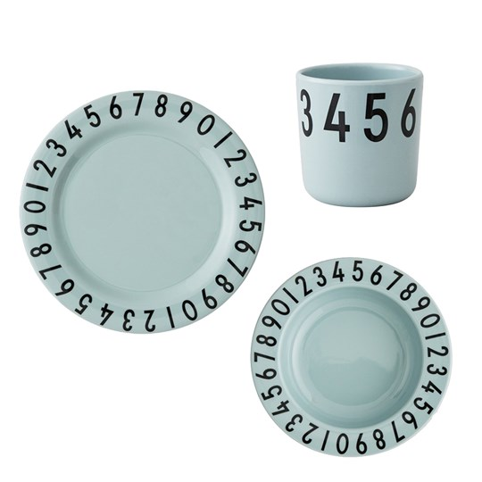 Design Letters Melamine The Numbers Tableware Gift Set 3 Pieces Green Green