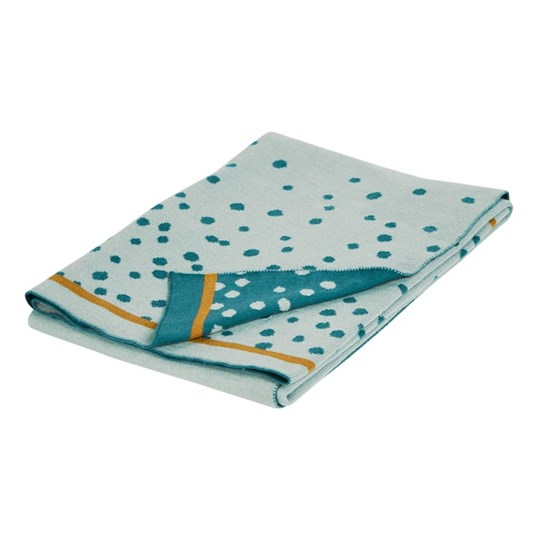 Done by Deer Knitted Blanket Happy Dots Blue Blue