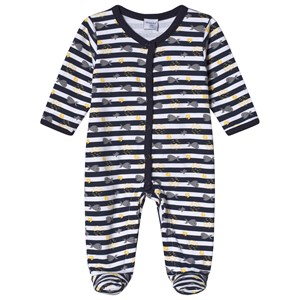 Image of Absorba White and Navy Footed Baby Body 1 month (2962707057)