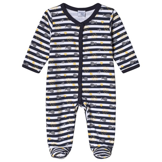 Absorba White and Navy Footed Baby Body 04