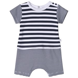 Image of Absorba White and Navy Multi Stripe Romper 1 month (3058026099)