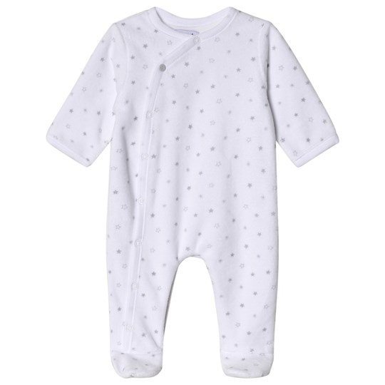 Absorba Star Print Footed Baby Body White 01