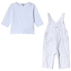 Absorba Blue Tee and Stripe Overall Set