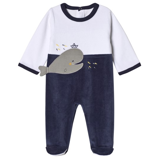 Absorba White and Navy Whale Print Footed Baby Body 04