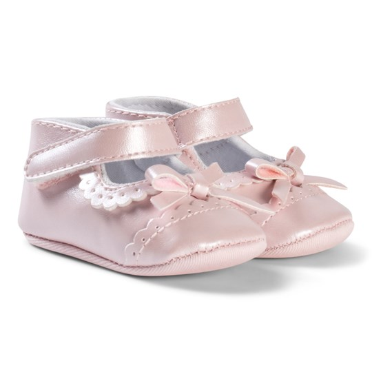 Absorba Pink Brogue and Bow Crib Shoes 30