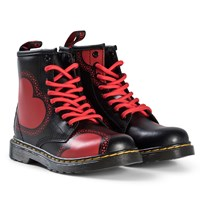 Dr. Martens Black Valentine´s Hearts Delaney Boots STRIPE RED VALENTINES BLACK K