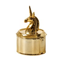 Rice Unicorn Porcelain Jewelry Box Gold Gold