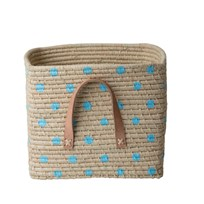 Rice Small Raffia Basket with Painted Dots Blue Nature/blue