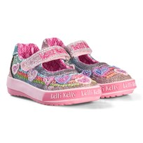 Lelli Kelly Rainbow Hearts Beaded Dolly Velcro Shoes In Pink RAINBOW HEARTS