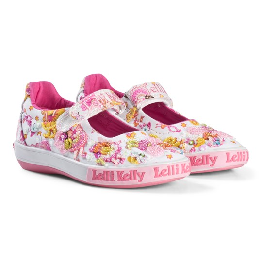 Lelli Kelly Pollie Dolly Flower Beaded and Embroidered Velcro Shoes In Cream White Fantasy